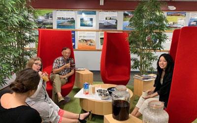 The SSFM team bonding over a boba break in the lounge.
